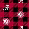 Alabama Crimson Tide Fleece Fabric-Buffalo Plaid