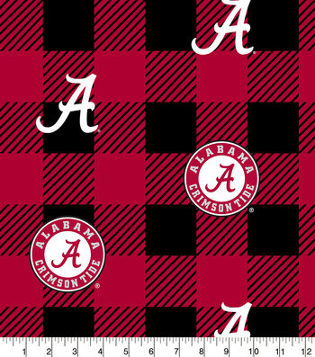 Alabama Crimson Tide Fleece Fabric-Buffalo Plaid