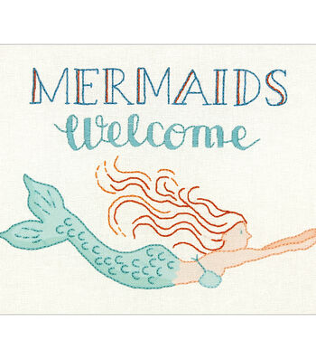 Dimensions Cathy Heck Embroidery Kit-Mermaids Welcome Stitched in Thread