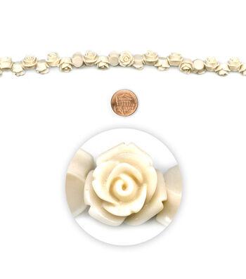 "Blue Moon Beads 7"" Strand, Acrylic Carved Rose, White/Cream"