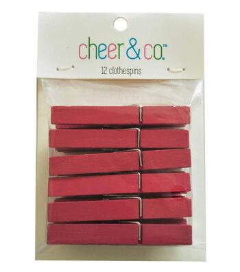 Cheer & Co. 12 pk Medium Clothespins-Red