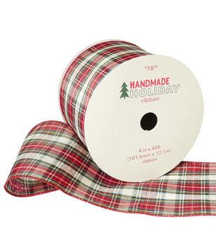 Handmade Holiday Christmas Ribbon 4''x40'-Red, Ivory & Yellow Plaid