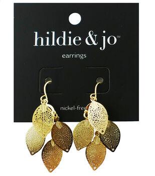 hildie & jo Leaves Dangle Earrings-Gold Shades