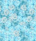 Premium Cotton Print Fabric 43\u0027\u0027-Blue & Pearl Packed Flowers