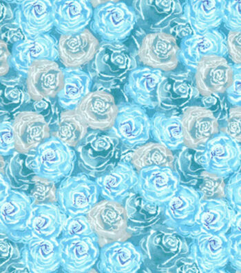 Premium Cotton Print Fabric 43''-Blue & Pearl Packed Flowers