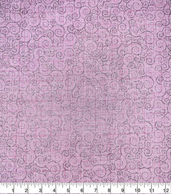 Valentine's Day Cotton Fabric-Scrolls Pink Glitter