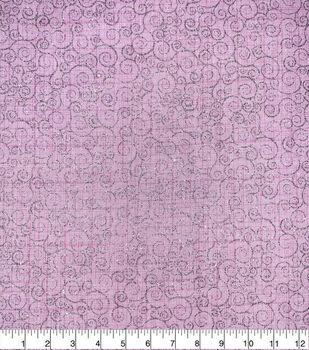 Valentine's Day Cotton Fabric-Glitter Scrolls on Pink