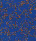 Snuggle Flannel Print Fabric -Orange Outline Dinos
