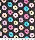 Novelty Cotton Fabric-Donuts on Black Glitter