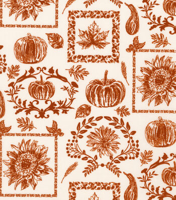 """Harvest Cotton Fabric 44""""-Fall Collage"""