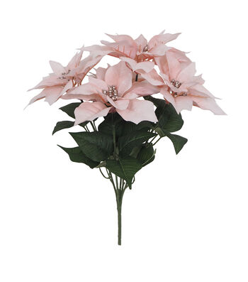 Blooming Holiday Christmas Water Resistant Poinsettia Bush-Pink