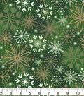 Christmas Cotton Fabric-Green Foil Snowflakes