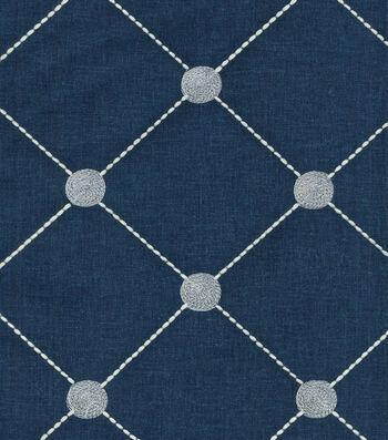 "Kelly Ripa Multi-Purpose Decor Fabric 52""-Fanfare Emb Indigo"