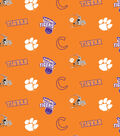 Clemson University Tigers Cotton Fabric -Orange All Over
