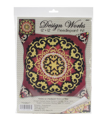 "Design Works Neeedlepoint Kit 12""X12""-Medallion-Stitched In Yarn"