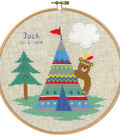 Vervaco 8\u0027\u0027 Round Counted Cross Stitch Kit-Indian Bear & Teepee Record