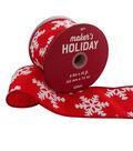 Maker\u0027s Holiday Christmas Ribbon 2.5\u0027\u0027x25\u0027-White Snowflakes on Red