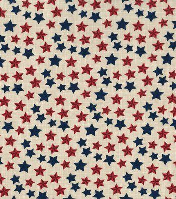 Patriotic Cotton Fabric 43''-Rustic Foil Stars