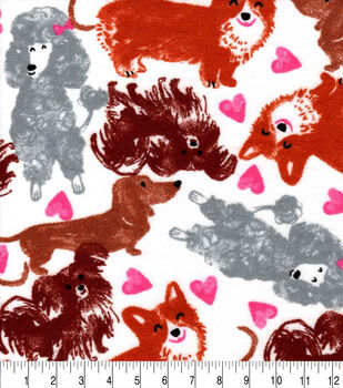 Valentine's Day Snuggle Flannel Fabric-Sketched Pups & Hearts