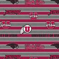 University of Utah Utes Fleece Fabric -Polo Stripe