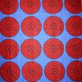 Cotton Shirting Fabric-Blue & Red Circles