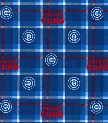 "Chicago Cubs Flannel Fabric 42""-Plaid"