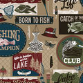 Super Snuggle Flannel Fabric-Gone Fishing Words
