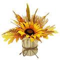 Blooming Autumn Yellow Sunflower & Corn Husk Arrangement