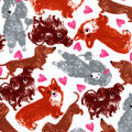 Valentine\u0027s Day Snuggle Flannel Fabric-Sketched Pups & Hearts