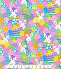 Easter Cotton Glitter Fabric 44\u0027\u0027-Bunnies & Eggs