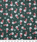 Christmas Cotton Fabric-Snowman Snowflake Green Glitter