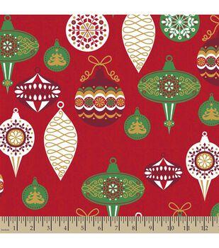 Christmas Print Fabric-Modern Christmas Bulbs