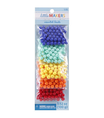 Little Maker's Round Beads-Blue, Teal, Yellow, Orange & Red