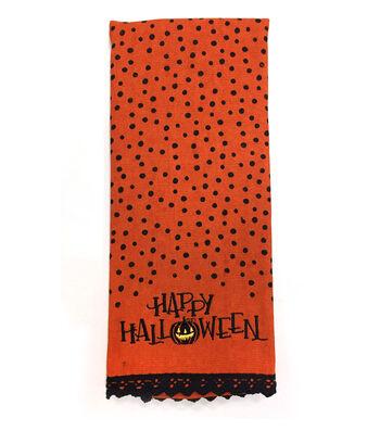 Maker's Halloween 16''x28'' Towel-Happy Halloween & Polka Dot