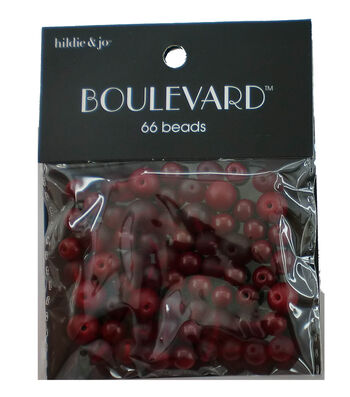 hildie & jo Boulevard 66 pk Mixed Glass Beads-Red