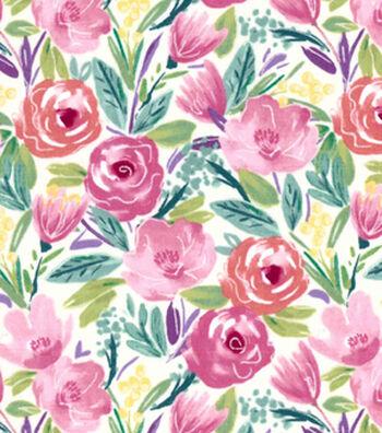 Premium Cotton Print Fabric 43''-Watercolor Floral on Cream
