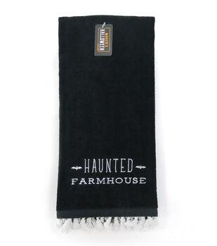 Maker's Halloween Decor Towel with Trim-Haunted Farmhouse