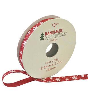 Handmade Holiday Christmas Ribbon 3/8''x9'-Snowflakes on Red