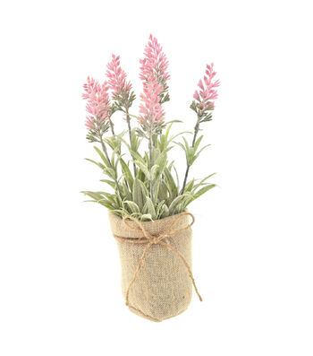 Fresh Picked Spring 12'' Lavender Arrangement in Burlap-Pink