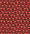 Novelty Cotton Fabric-Packed Strawberries On Black