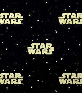 "Star Wars Cotton Fabric 44""-Metallic Logo"