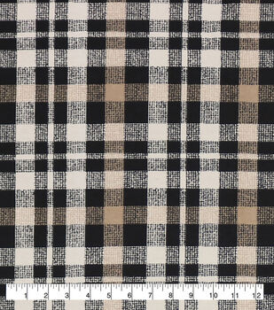 Super Snuggle Flannel Fabric-Alex Taupe & Black Plaid