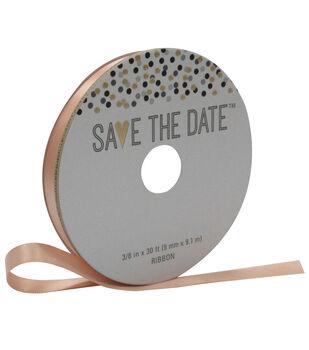 Save the Date 3/8'' X 30' Ribbon-Satin Peach