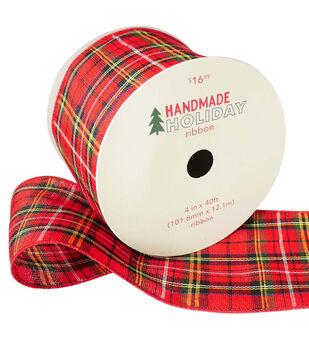 Handmade Holiday Christmas Ribbon 4''x40'-Red, Yellow & Black Plaid
