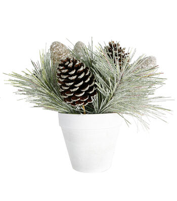Blooming Holiday Christmas PVC & Glisten Pinecone Arrangement