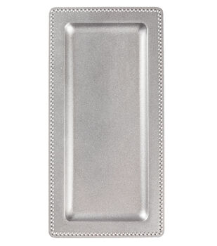 Hudson 43 Candle & Light 14''x7'' Rectangle Serving Tray-Silver