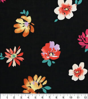 Specialty Cotton Gauze Fabric-Black Multi Floral