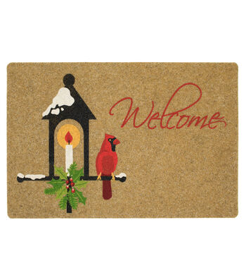 Christmas Holiday Added Touch Mat-Lamp, Light, Cardinal & Welcome