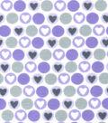 Snuggle Flannel Fabric -Purple Hearts & Dots