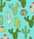 Anti-Pill Fleece Fabric -Cacti on Aqua